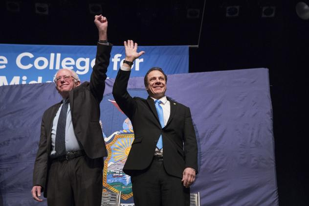 New York Gov. Andrew Cuomo (right) and Vermont Sen. Bernie Sanders at an event at LaGuardia Community College in New York in January.
