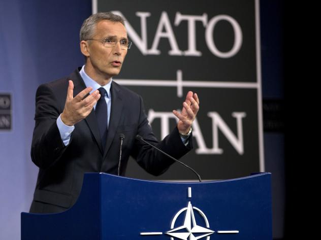 NATO Secretary General Jens Stoltenberg addresses a media conference at NATO headquarters in Brussels on March 31, 2017.