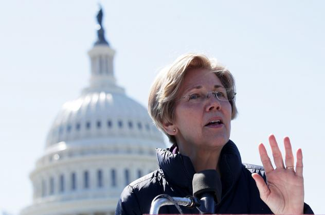 Sen. Elizabeth Warren, D-Mass., speaks during a rally in front of the Capitol on March 22. She writes about the middle class and activism in her new book, <em>This Fight Is Our Fight</em>.
