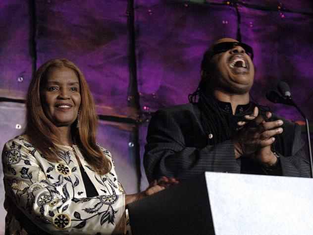 Sylvia Moy and Stevie Wonder during 37th Annual Songwriters Hall of Fame ceremony in 2006, at which Moy was inducted. Moy died Saturday at age 78.