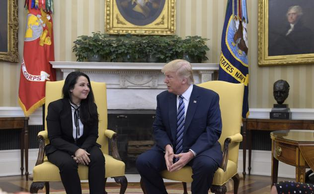 Aya Hijazi (center), a dual U.S.-Egyptian citizen, was acquitted by an Egyptian court on Sunday after nearly three years of detention over accusations related to the foundation she and her husband ran, dedicated to helping street children in Cairo.