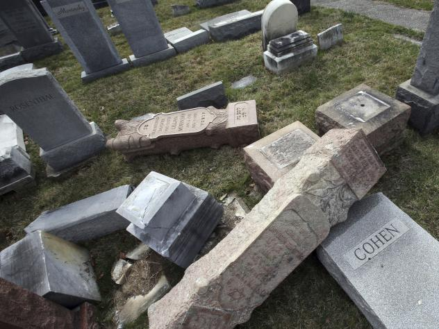 The Anti-Defamation League counts 541 incidents of anti-Semitism since the year began. That includes vandalism of Jewish burial grounds, including the Mount Carmel Cemetery in Philadelphia in February.