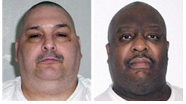 This combination of undated file photos provided by the Arkansas Department of Correction shows death-row inmates Jack Jones Jr., left, and Marcel Williams. The two Arkansas inmates were put to death Monday, in the nation's first double execution in more