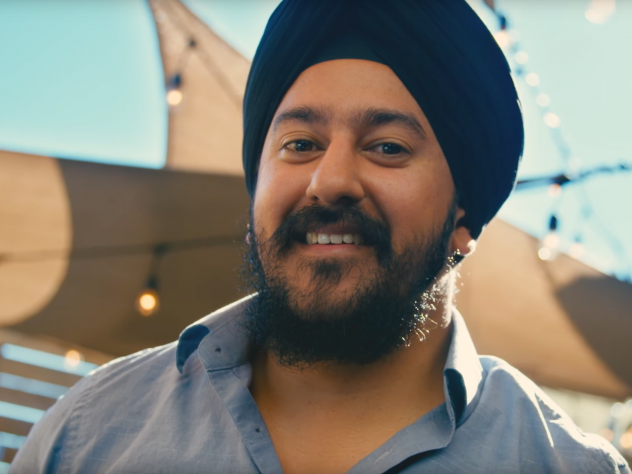A screenshot from a video about the Sikh community that is part of a large awareness campaign. The project was funded entirely by grass-roots donations. The campaign's ads will air nationally.
