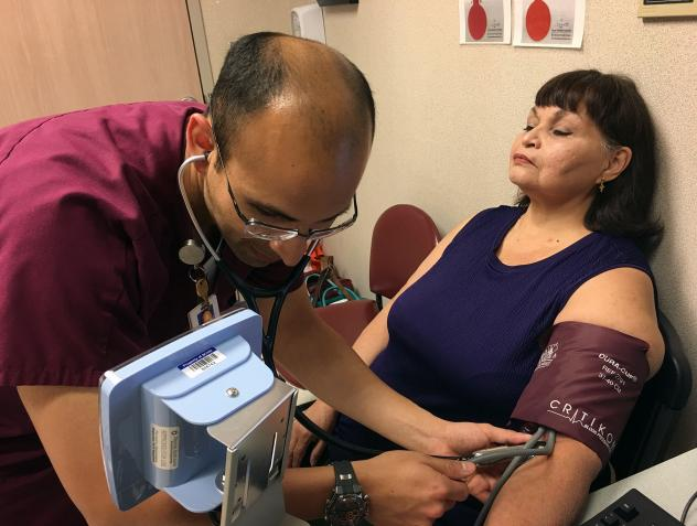 """Ann Mazuca has diabetes and glaucoma that can be aggravated by high blood pressure. The support shown by clinic staff at the University Family Health Center Southeast, in San Antonio, helps her do what's needed to reduce hypertension, she says. """"The fact"""