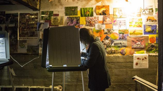 A woman votes in the Potrero Hill neighborhood of San Francisco.