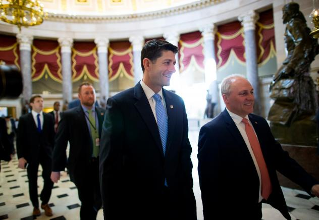 House Speaker Paul Ryan (center) walks to the House chamber ahead of a budget vote on Capitol Hill. Though Ryan was able to deliver 217 votes Thursday to get his GOP health plan through the House, there are still significant hurdles before the bill becom
