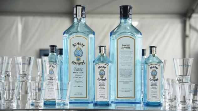 Bombay Sapphire is displayed at a benefit in New York last year. These bottles were presumably properly diluted — unlike the accidentally overproof London Dry Gin that is being recalled in Canada.