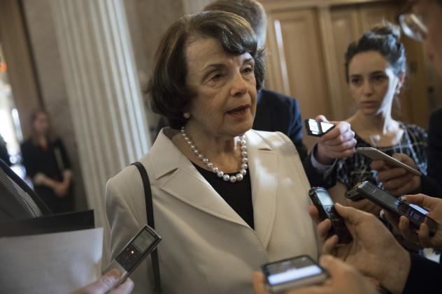 Sen. Dianne Feinstein, D-Calif., speaks to reporters on Capitol Hill on Wednesday. Senators from both parties are scrambling to react to President Trump's surprise dismissal of FBI Director James Comey.