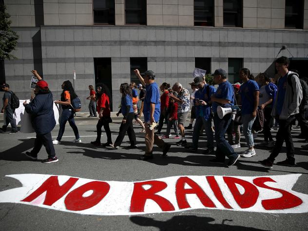 Protesters march during a May Day demonstration outside of a U.S. Immigration and Customs Enforcement (ICE) office on May 1, 2017 in San Francisco, California.