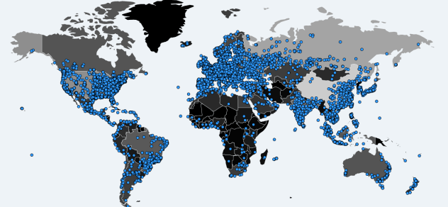 A world map shows where computers were infected by WannaCrypt ransomware since Sunday, as recorded by MalwareTech.com.