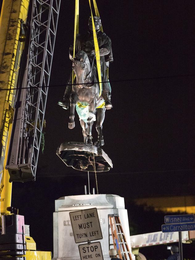 A statue to Confederate Gen. P.G.T. Beauregard is the third post-Civil War monument to come down in New Orleans. The bronze statue was taken down from its previous spot at the entrance to City Park just after 3 a.m. local time Wednesday.