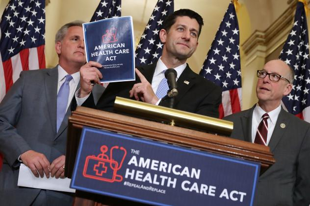Speaker of the House Paul Ryan holds up a copy of the American Health Care Act during a March 7 news conference with House Majority Leader Kevin McCarthy, R-Calif. (left), and House Energy and Commerce Committee Chairman Greg Walden, R-Ore., outside Ryan