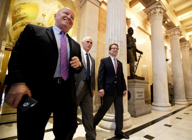 House Ways and Means Committee Chairman Kevin Brady (from left), with Vice President Pence and and Rep. Peter Roskam, R-Ill., on Capitol Hill, noted that the CBO analysis confirms that the House GOP health care bill will cut the deficit.