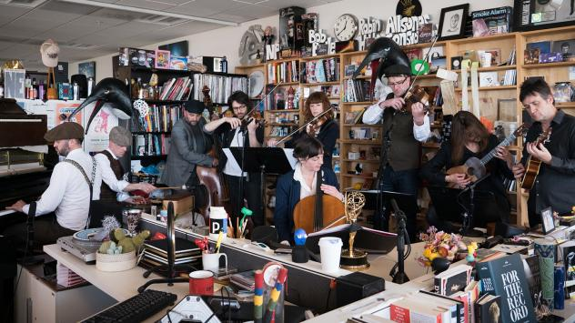 Penguin Cafe performs a Tiny Desk Concert on May 2, 2017. (Claire Harbage/NPR)