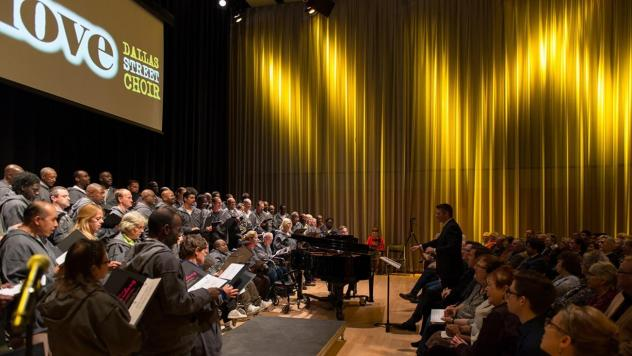 The Dallas Street Choir, whose members are homeless, performs at the Winspear Opera House. The choir has embarked on an East Coast tour that includes a stop at Carnegie Hall.