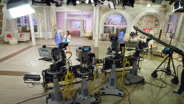 An undated image shows recording equipment at QVC Studio Park in Pennsylvania. The TV shopping network has announced plans to merge with its rival, HSN Inc.
