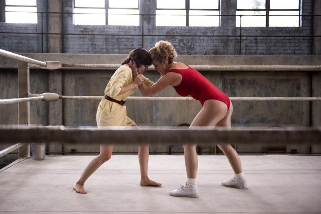 Alison Brie (left) and Betty Gilpin star in <em>GLOW</em>, <em></em>a new Netflix show about a women's wrestling league in the 1980s.