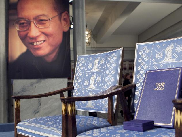 A chair sat empty for Nobel Peace Prize winner Liu Xiaobo in Oslo, Norway, in 2010. The rights activist was imprisoned in China in 2009.
