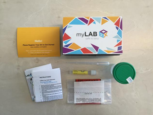 An STD testing kit from myLAB Box allows users to gather samples at home and mail them back to the company.
