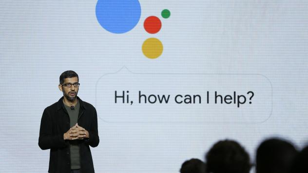 Google CEO Sundar Pichai talks about the new Google Assistant during a 2016 product event in San Francisco. The voice assistant is one of a number of Google products that will provide user data to the curation service that the company is launching Wednes