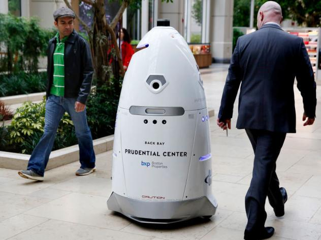 A Knightscope K5 security robot roamed the Prudential Center in Boston on May 22, 2017.