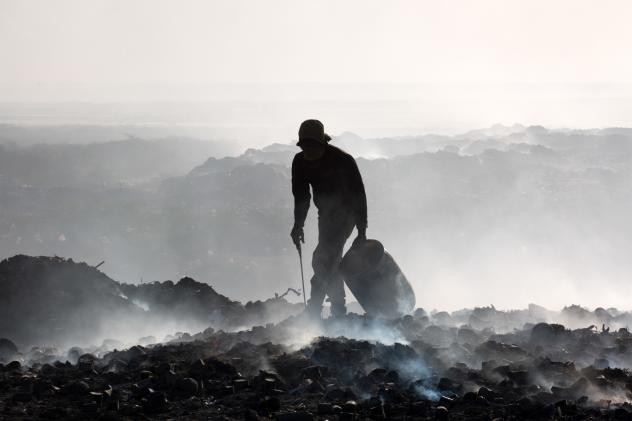 Piles of human waste are left at the Morne a Cabrit sewage treatment plant. The latrine cleaners<strong> </strong>who dumped them work in the dark because of intense stigma associated with their profession.