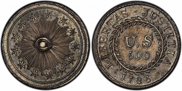 "This image provided by PCGS.com/Professional Coin Grading Service shows the front (left) and back of a 1783 plain obverse Nova Constellatio ""quint"" silver coin. Authorized by Congress, the coin had a value of 500 units in a proposed but later abandoned e"