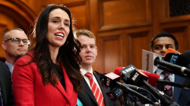 """The new leader of New Zealand's Labour Party, Jacinda Ardern, speaks at her first press conference at Parliament in Wellington on Tuesday. Ardern was elected after Andrew Little stepped down just weeks before a general election, citing """"disappointing"""" op"""
