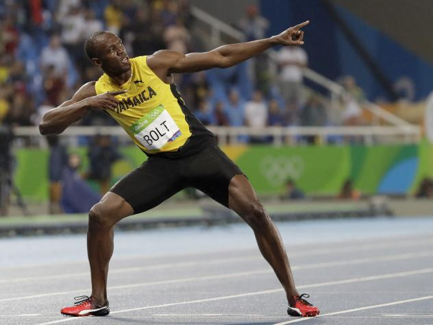 """Jamaica's Usain Bolt celebrates after winning the """"Salute to a Legend """" 100 meters during the Racers Grand Prix n Kingston, Jamaica, Saturday, June 10, 2017. Bolt is set to run his final 100 meters at the World Championships on Saturday in London."""