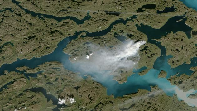 The fire in Greenland, as seen last week by the ESA's Copernicus Sentinel-2 and processed by researcher Pierre Markuse.