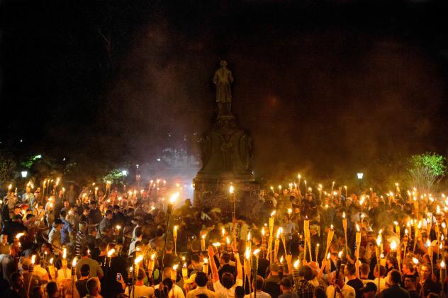 """White nationalists, neo-Nazis and members of the """"alt-right"""" face off against counterprotesters during the """"Unite the Right"""" rally on Saturday in Charlottesville."""