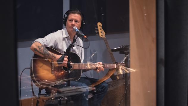 Jake La Botz inside the World Cafe Performance Studio