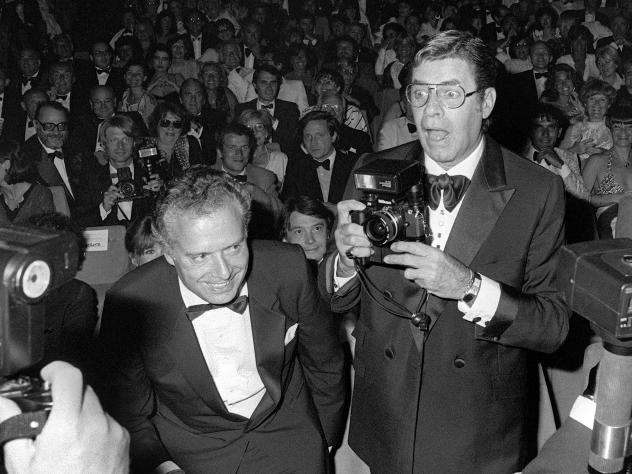 """Jerry Lewis looks through the cine camera, on March 22, 1972, during the shooting of """"The Day the Clown Cried,"""" the film he directed at the Cirque D'Hiver in Paris."""