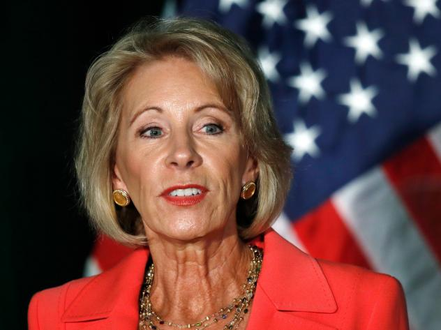 """Education Secretary Betsy DeVos speaks about campus sexual assault and enforcement of Title IX on Thursday at George Mason University in Arlington, Va. """"One rape is one too many ... one person denied due process is one too many,"""" she said."""