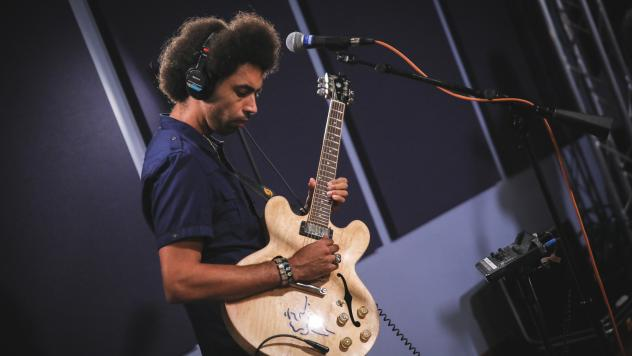 Selwyn Birchwood inside the World Cafe performance studio.