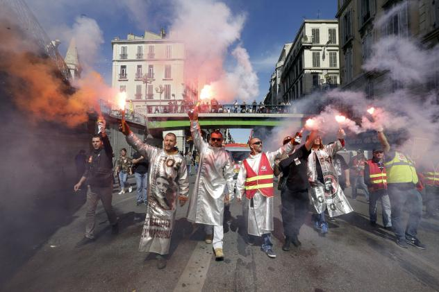 Protests like this one in Paris were called for by the far-left CGT union.