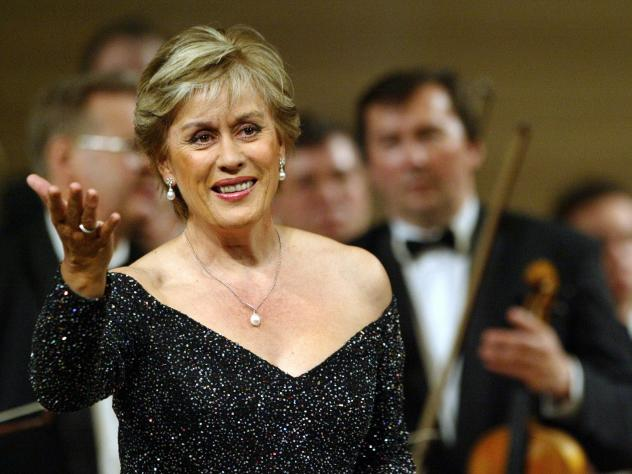 Dame Kiri Te Kanawa performs with the Russian National Orchestra directed by Vladimir Spivakov in 2004.
