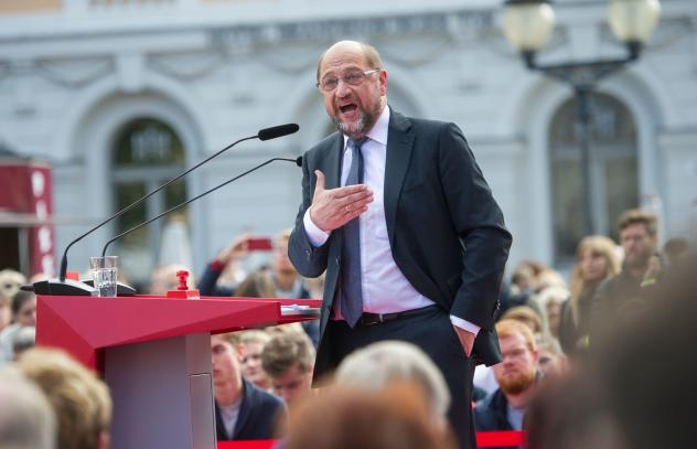 Martin Schulz, former president of the European Parliament, speaks in Potsdam, Germany, last week. He is Chancellor Angela Merkel's main challenger in Germany's upcoming federal elections.
