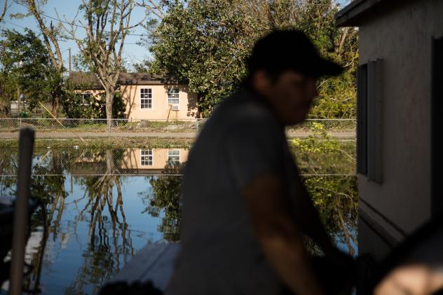 Flooding after Hurricane Irma sits on a property in Immokalee, Fla. Humid, warm environments, like Texas and Florida, can create a welcoming environment for mold and mildew, which are linked to allergies, asthma and other respiratory conditions.