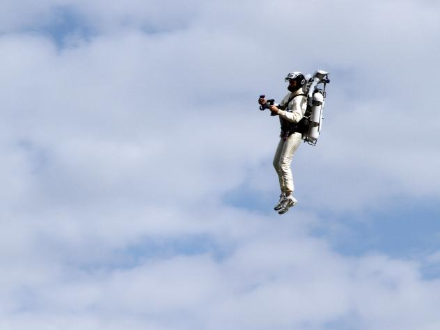 JetPack Man flies through the air at the NASCAR Sprint Cup Series AAA Texas 500 at Texas Motor Speedway on Nov. 6, 2011, in Fort Worth. Backers of a new $2 million competition hope to encourage the development of personal flying vehicles.