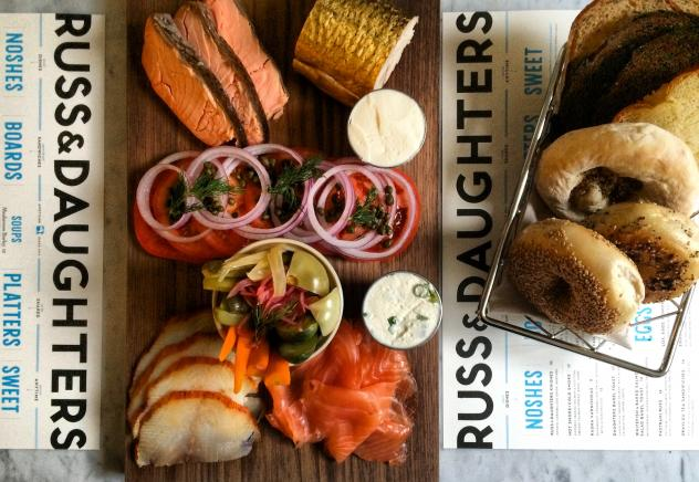 """Bagels and lox from New York-based """"appetizing shop"""" Russ & Daughters. """"Especially when people aren't engaging in other parts of the practice, bagels and lox get elevated to something ritually symbolic. It's a lot of power to put on a bagel,"""" says Leah K"""