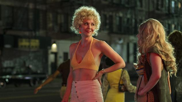 Maggie Gyllenhaal plays Candy, a prostitute who hopes to get out of the trade by learning to make porn films, on the HBO series <em>The Deuce.</em>