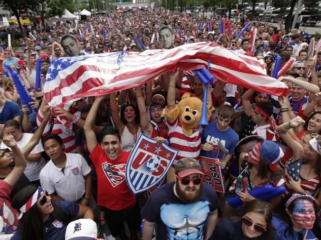 A raucous crowd cheers for Team USA during a Tuesday, July 1, 2014 World Cup soccer match between the U.S. and Belgium at a public viewing party in Detroit, Tuesday, July 1, 2014. For many fans during next year's U.S.-free World Cup, it'll be just anothe