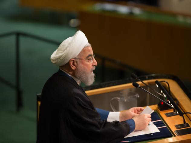 Iran's President Hassan Rouhani speaks at the United Nations in September.