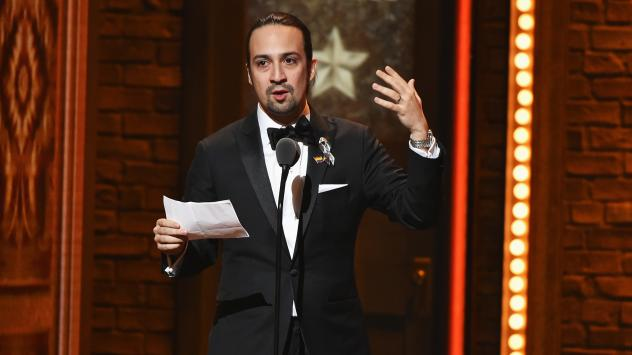 Lin-Manuel Miranda (shown here accepting an award at the 70th Annual Tony Awards) is featured in this week's show.