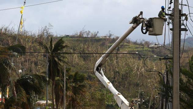 Hurricane Maria destroyed power lines across Puerto Rico, including these in Vega Alta.