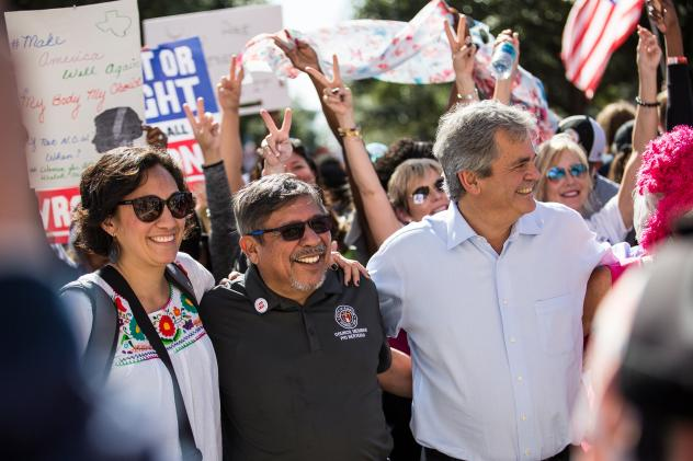 Austin City Council member Delia Garza attended the Women's March on Austin with colleagues Pio Renteria and Austin Mayor Steve Adler at the Texas State Capitol in January.