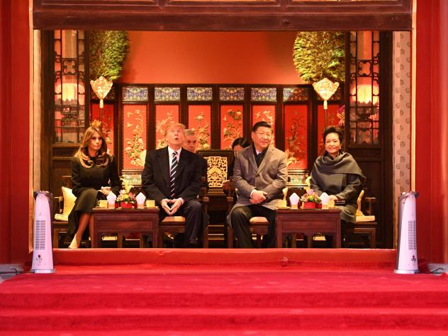 China's President Xi Jinping and his wife Peng Liyuan hosted President Trump and First Lady Melania Trump  during a tour of the Forbidden City in Beijing on Wednesday, as Trump began the third leg of his Asian tour.