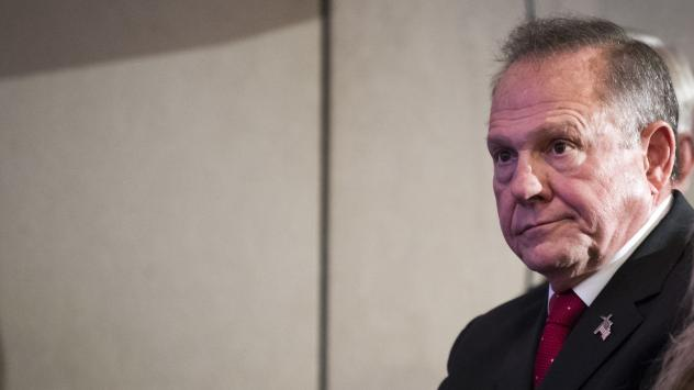 Roy Moore, GOP candidate for Senate in Alabama, waits to speak during an event with supporters Thursday. Moore, who has been accused of sexual assault by multiple women, has refused to drop out.
